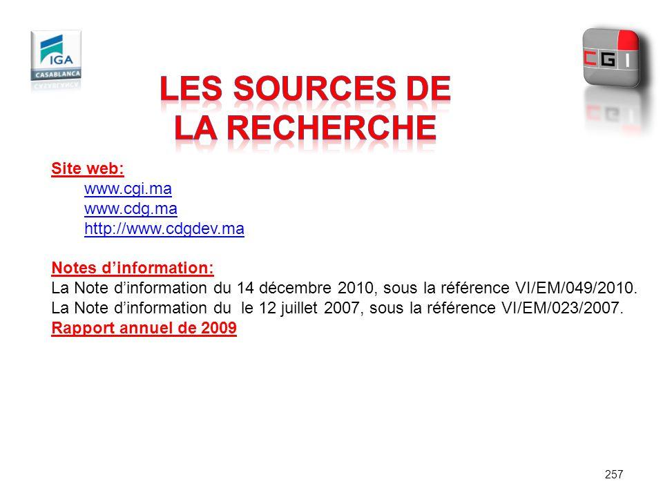 257 Site web: www.cgi.ma www.cdg.ma http://www.cdgdev.ma Notes dinformation: La Note dinformation du 14 décembre 2010, sous la référence VI/EM/049/201