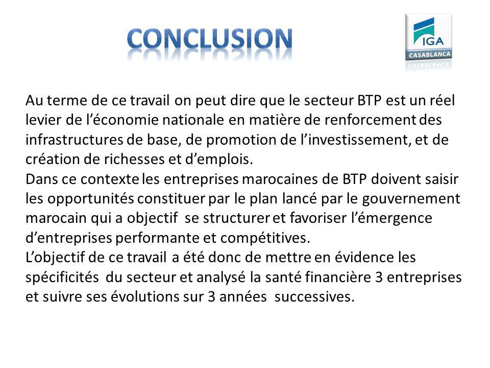 Au terme de ce travail on peut dire que le secteur BTP est un réel levier de léconomie nationale en matière de renforcement des infrastructures de bas
