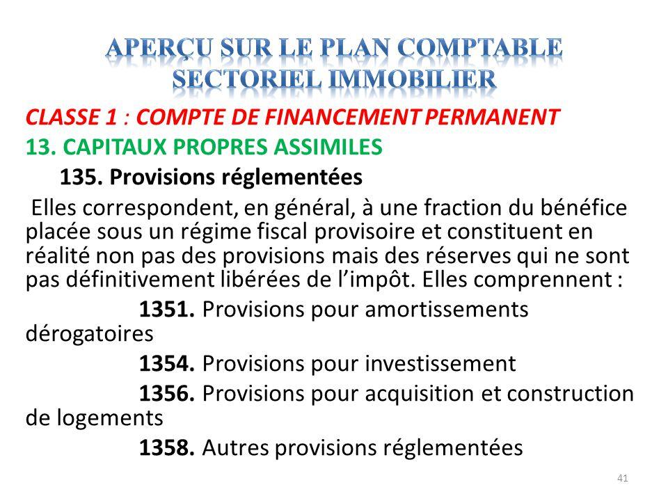 CLASSE 1 : COMPTE DE FINANCEMENT PERMANENT 13. CAPITAUX PROPRES ASSIMILES 135. Provisions réglementées Elles correspondent, en général, à une fraction