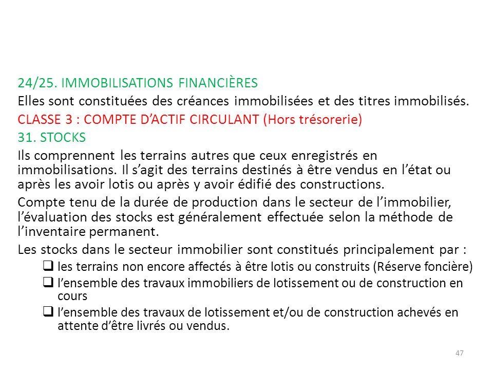 24/25. IMMOBILISATIONS FINANCIÈRES Elles sont constituées des créances immobilisées et des titres immobilisés. CLASSE 3 : COMPTE DACTIF CIRCULANT (Hor