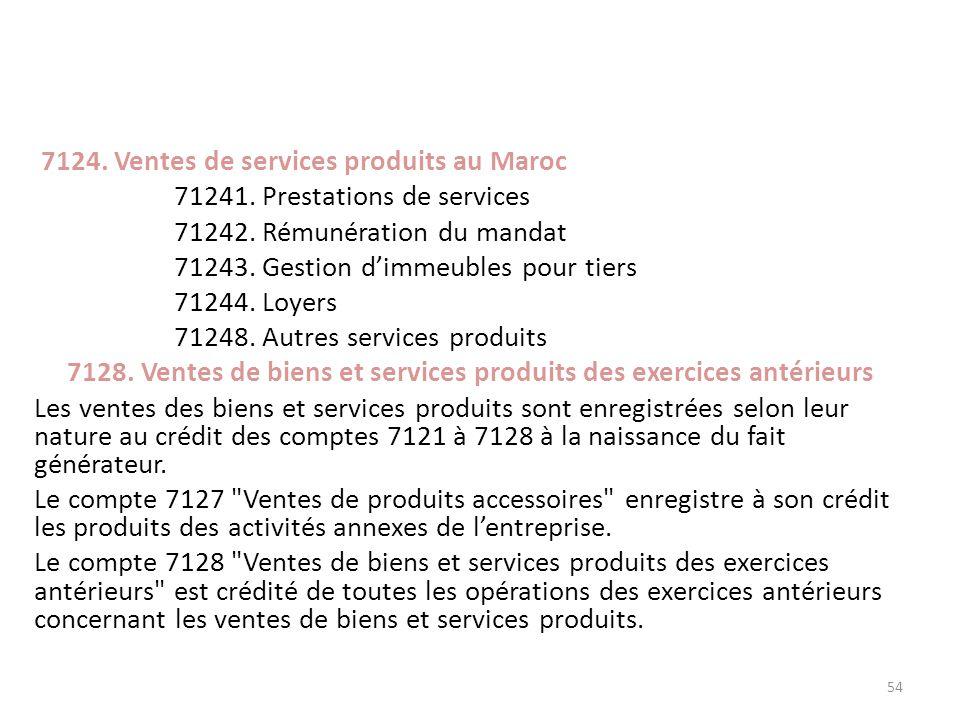 7124. Ventes de services produits au Maroc 71241. Prestations de services 71242. Rémunération du mandat 71243. Gestion dimmeubles pour tiers 71244. Lo