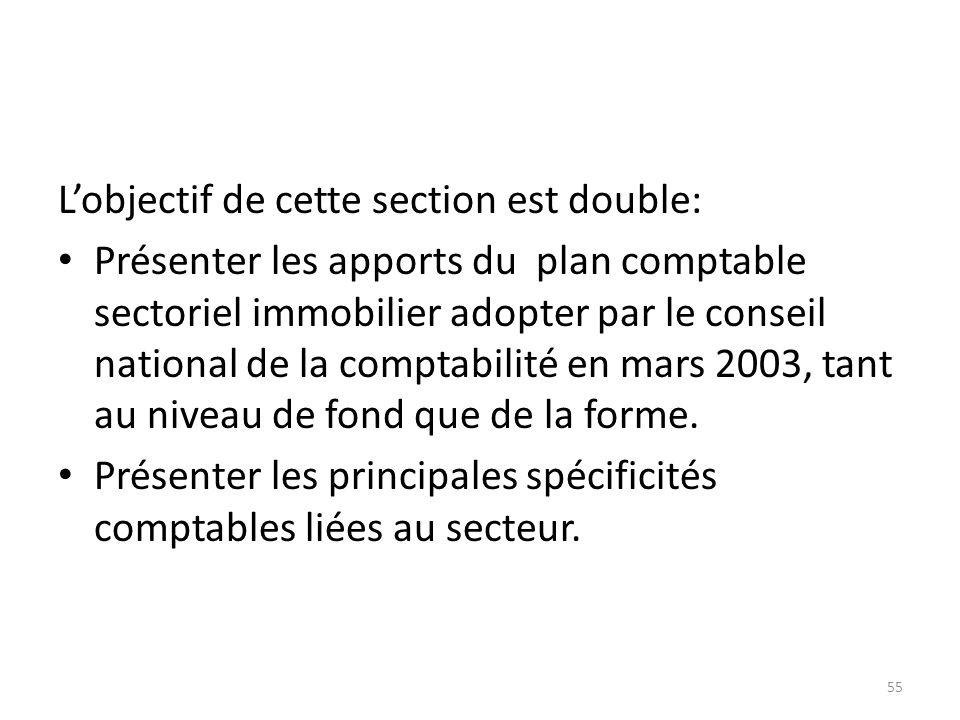 Lobjectif de cette section est double: Présenter les apports du plan comptable sectoriel immobilier adopter par le conseil national de la comptabilité