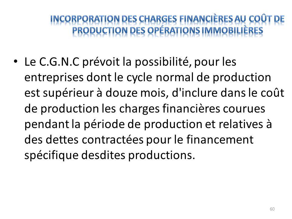 Le C.G.N.C prévoit la possibilité, pour les entreprises dont le cycle normal de production est supérieur à douze mois, d'inclure dans le coût de produ
