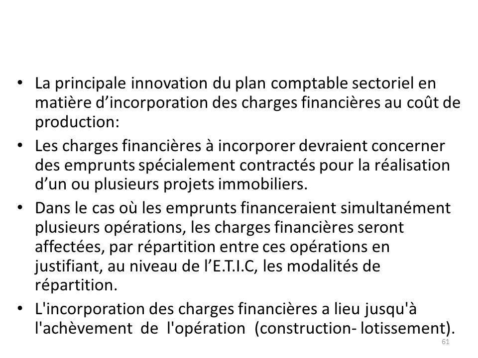 La principale innovation du plan comptable sectoriel en matière dincorporation des charges financières au coût de production: Les charges financières