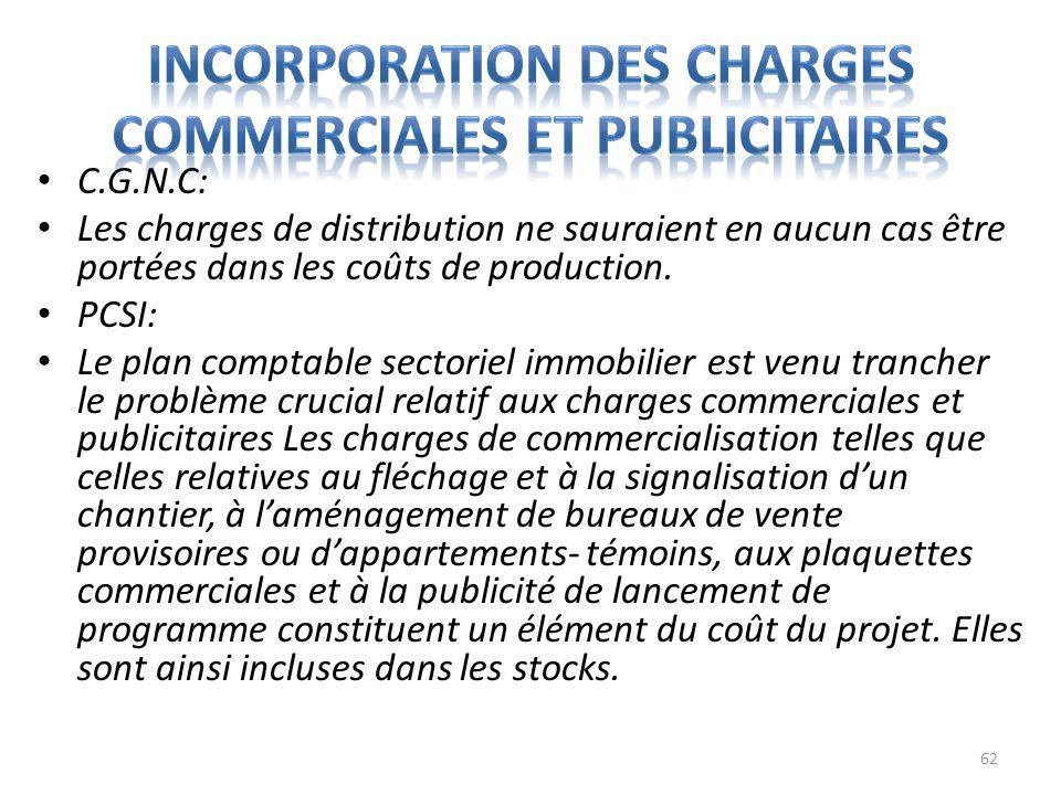 C.G.N.C: Les charges de distribution ne sauraient en aucun cas être portées dans les coûts de production. PCSI: Le plan comptable sectoriel immobilier
