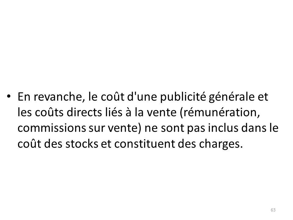 En revanche, le coût d'une publicité générale et les coûts directs liés à la vente (rémunération, commissions sur vente) ne sont pas inclus dans le co