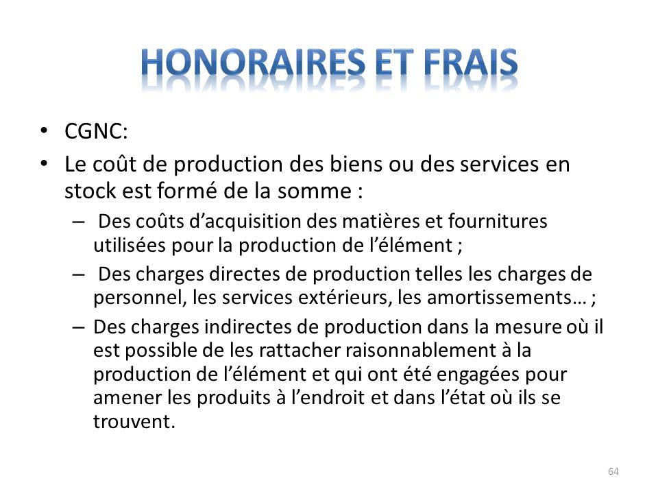 CGNC: Le coût de production des biens ou des services en stock est formé de la somme : – Des coûts dacquisition des matières et fournitures utilisées