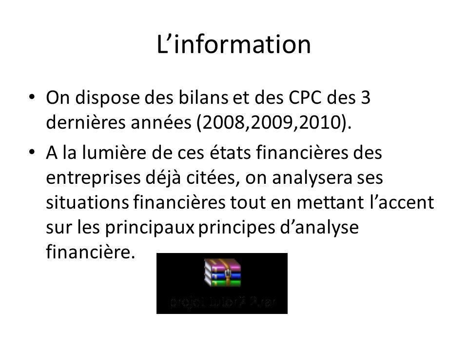Linformation On dispose des bilans et des CPC des 3 dernières années (2008,2009,2010). A la lumière de ces états financières des entreprises déjà cité