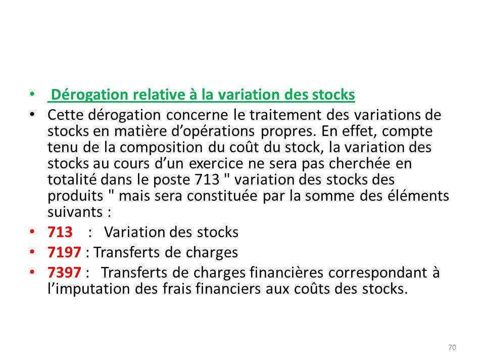 Dérogation relative à la variation des stocks Cette dérogation concerne le traitement des variations de stocks en matière dopérations propres. En effe
