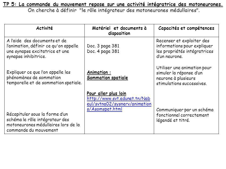 ActivitéMatériel et documents à disposition Capacités et compétences A laide des documents et de lanimation, définir ce qu'on appelle une synapse exci