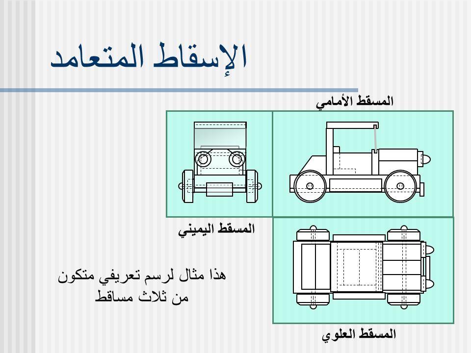 الإسقاط المتعامد المسقط الأمامي المسقط العلوي المسقط اليميني هذا مثال لرسم تعريفي متكون من ثلاث مساقط