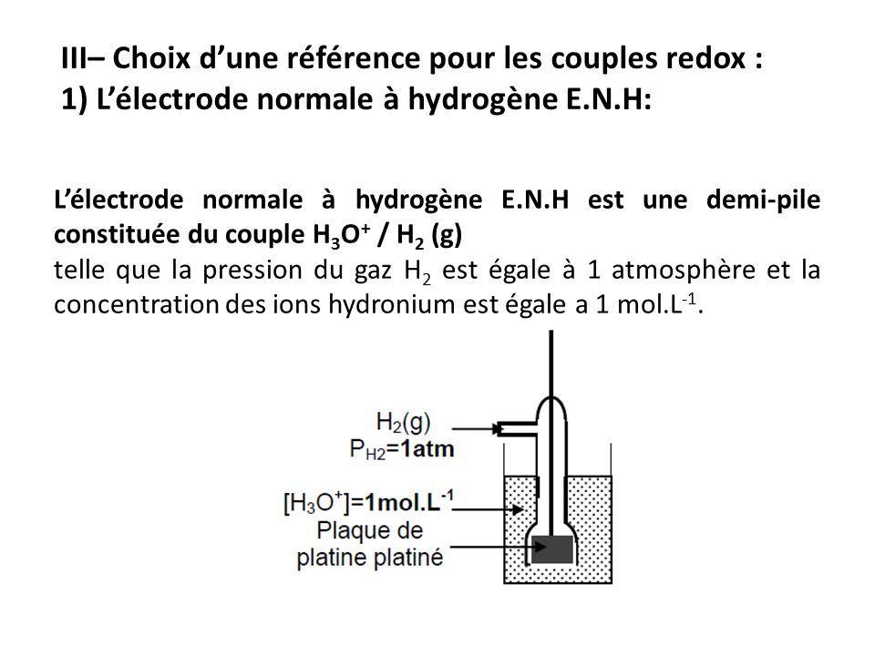 L'électrode normale à hydrogène E.N.H est une demi-pile constituée du couple H 3 O + / H 2 (g) telle que la pression du gaz H 2 est égale à 1 atmosphère et la concentration des ions hydronium est égale a 1 mol.L -1.