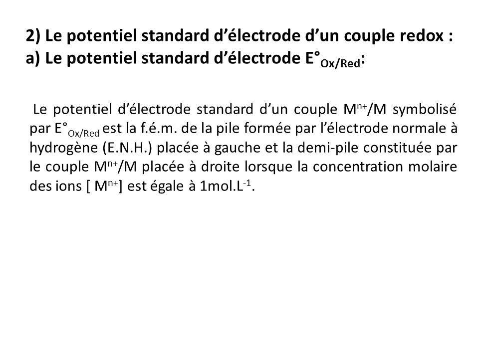 2) Le potentiel standard d'électrode d'un couple redox : a) Le potentiel standard d'électrode E° Ox/Red : Le potentiel d'électrode standard d'un couple M n+ /M symbolisé par E° Ox/Red est la f.é.m.