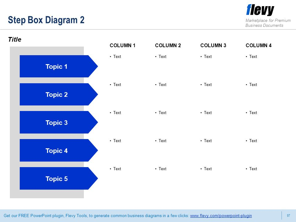 97 Marketplace for Premium Business Documents Get our FREE PowerPoint plugin, Flevy Tools, to generate common business diagrams in a few clicks:   Step Box Diagram 2 Title COLUMN 1COLUMN 2COLUMN 3COLUMN 4 Topic 1 Text Topic 2 Text Topic 3 Text Topic 4 Text Topic 5 Text