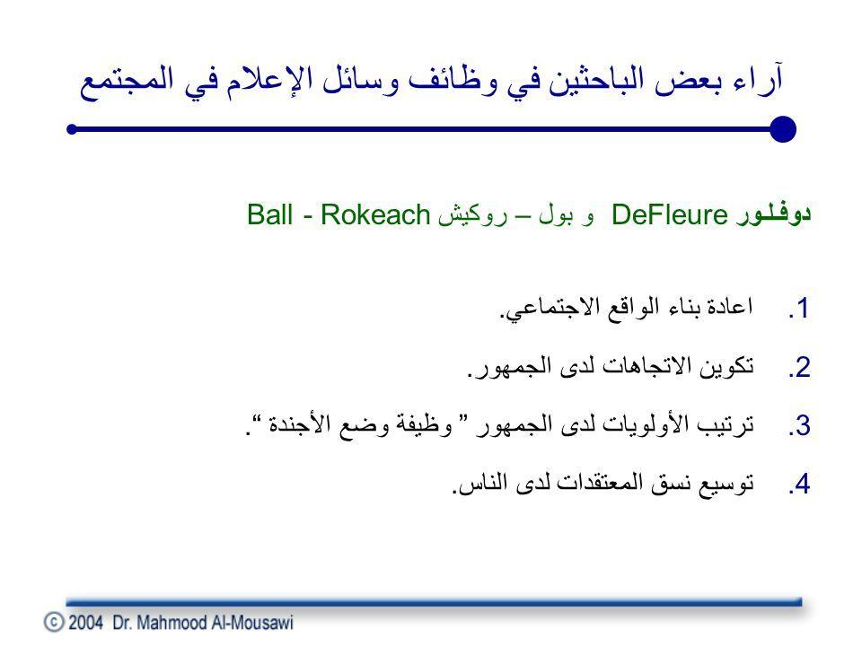 آراء بعض الباحثين في وظائف وسائل الإعلام في المجتمع دوفـلـور DeFleure و بول – روكيش Ball - Rokeach 1.اعادة بناء الواقع الاجتماعي.