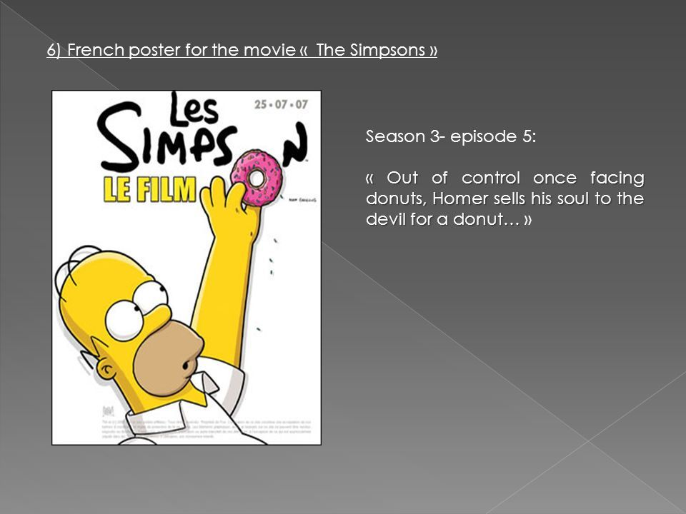 6) French poster for the movie « The Simpsons » Season 3- episode 5: « Out of control once facing donuts, Homer sells his soul to the devil for a donut… « Out of control once facing donuts, Homer sells his soul to the devil for a donut… »