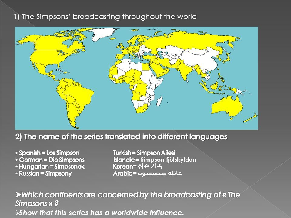 1) The Simpsons' broadcasting throughout the world