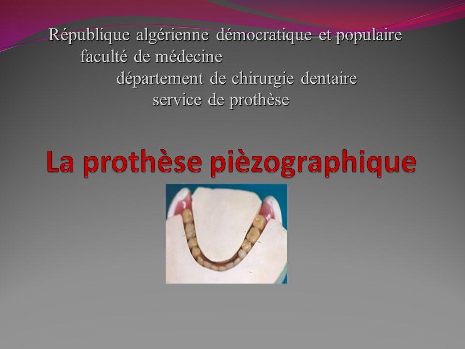 République algérienne démocratique et populaire faculté de médecine département de chirurgie dentaire service de prothèse