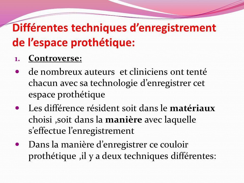Différentes techniques d'enregistrement de l'espace prothétique: 1.