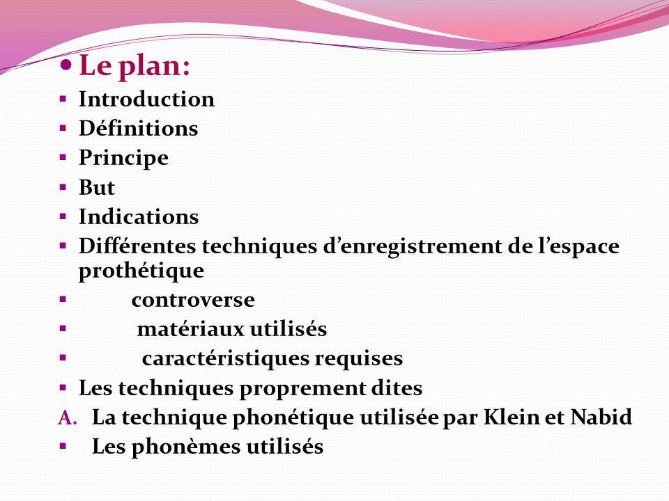 Le plan:  Introduction  Définitions  Principe  But  Indications  Différentes techniques d'enregistrement de l'espace prothétique  controverse  matériaux utilisés  caractéristiques requises  Les techniques proprement dites A.