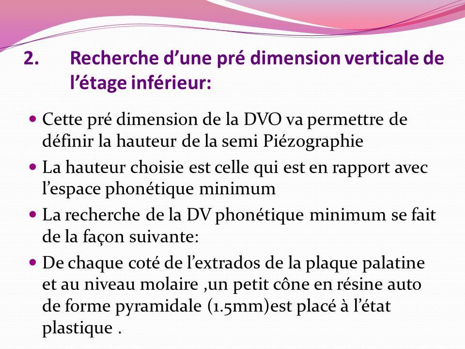2.Recherche d'une pré dimension verticale de l'étage inférieur: Cette pré dimension de la DVO va permettre de définir la hauteur de la semi Piézographie La hauteur choisie est celle qui est en rapport avec l'espace phonétique minimum La recherche de la DV phonétique minimum se fait de la façon suivante: De chaque coté de l'extrados de la plaque palatine et au niveau molaire,un petit cône en résine auto de forme pyramidale (1.5mm)est placé à l'état plastique.