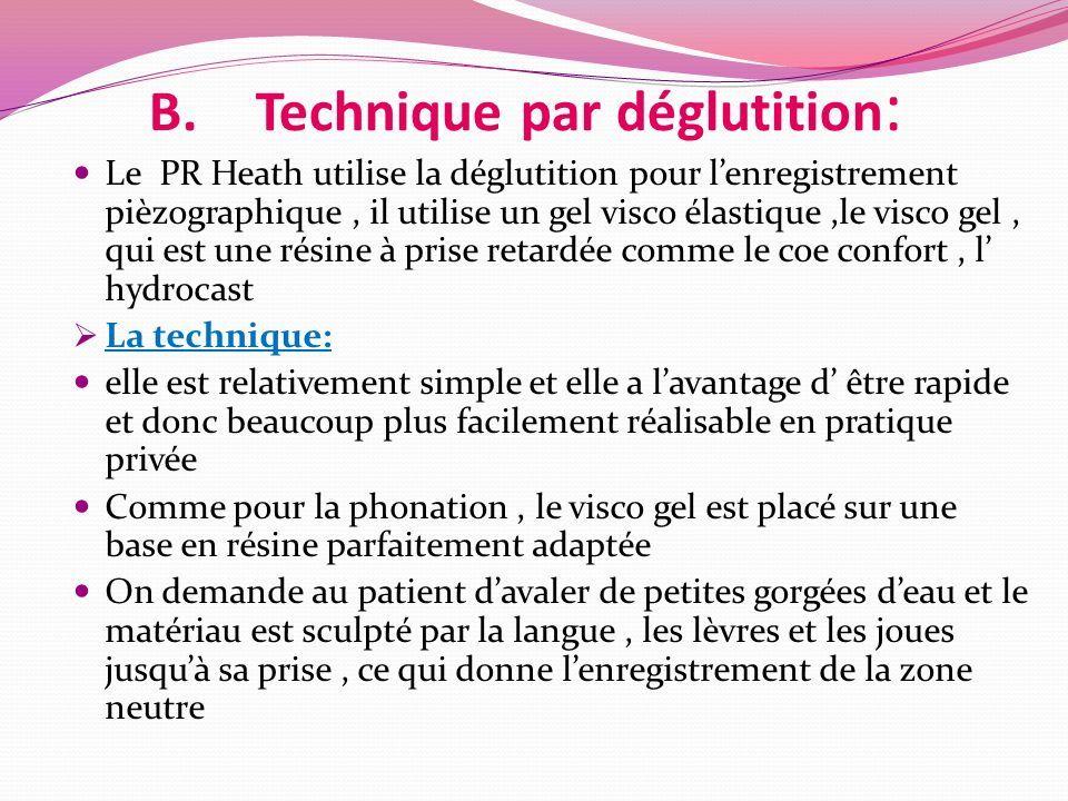 B.Technique par déglutition : Le PR Heath utilise la déglutition pour l'enregistrement pièzographique, il utilise un gel visco élastique,le visco gel, qui est une résine à prise retardée comme le coe confort, l' hydrocast  La technique: elle est relativement simple et elle a l'avantage d' être rapide et donc beaucoup plus facilement réalisable en pratique privée Comme pour la phonation, le visco gel est placé sur une base en résine parfaitement adaptée On demande au patient d'avaler de petites gorgées d'eau et le matériau est sculpté par la langue, les lèvres et les joues jusqu'à sa prise, ce qui donne l'enregistrement de la zone neutre