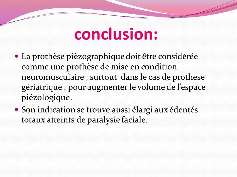 conclusion: La prothèse pièzographique doit être considérée comme une prothèse de mise en condition neuromusculaire, surtout dans le cas de prothèse gériatrique, pour augmenter le volume de l'espace piézologique.