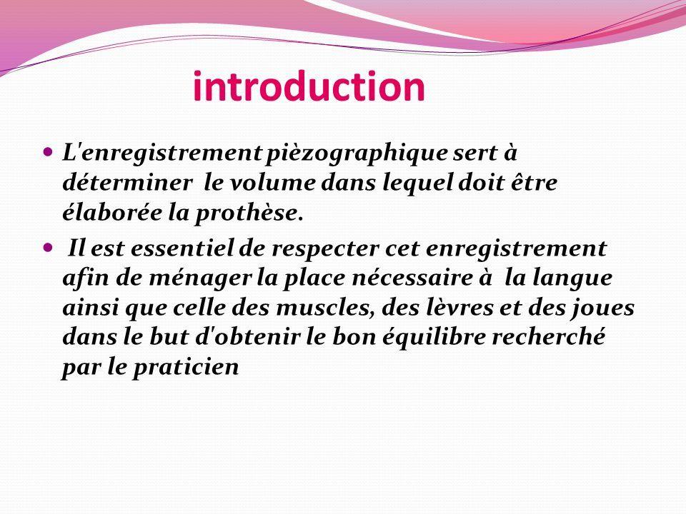introduction L enregistrement pièzographique sert à déterminer le volume dans lequel doit être élaborée la prothèse.
