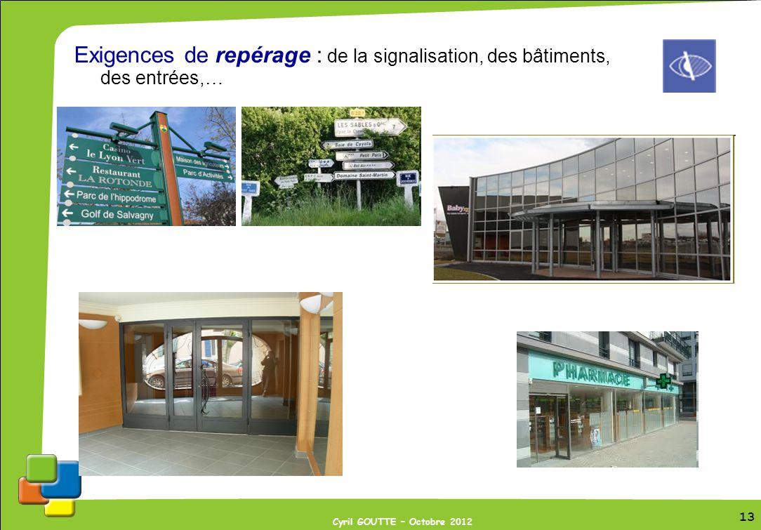 13 Cyril GOUTTE – Octobre 2012 13 Exigences de repérage : de la signalisation, des bâtiments, des entrées,…