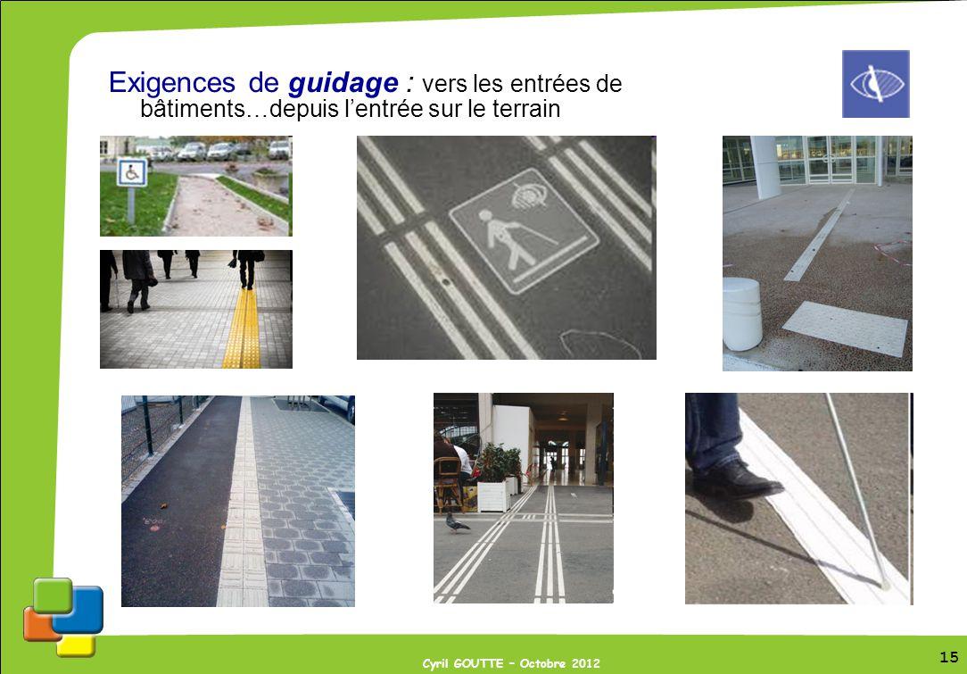 15 Cyril GOUTTE – Octobre 2012 15 Exigences de guidage : vers les entrées de bâtiments…depuis lentrée sur le terrain