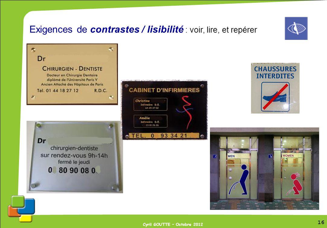 16 Cyril GOUTTE – Octobre 2012 16 Exigences de contrastes / lisibilité : voir, lire, et repérer