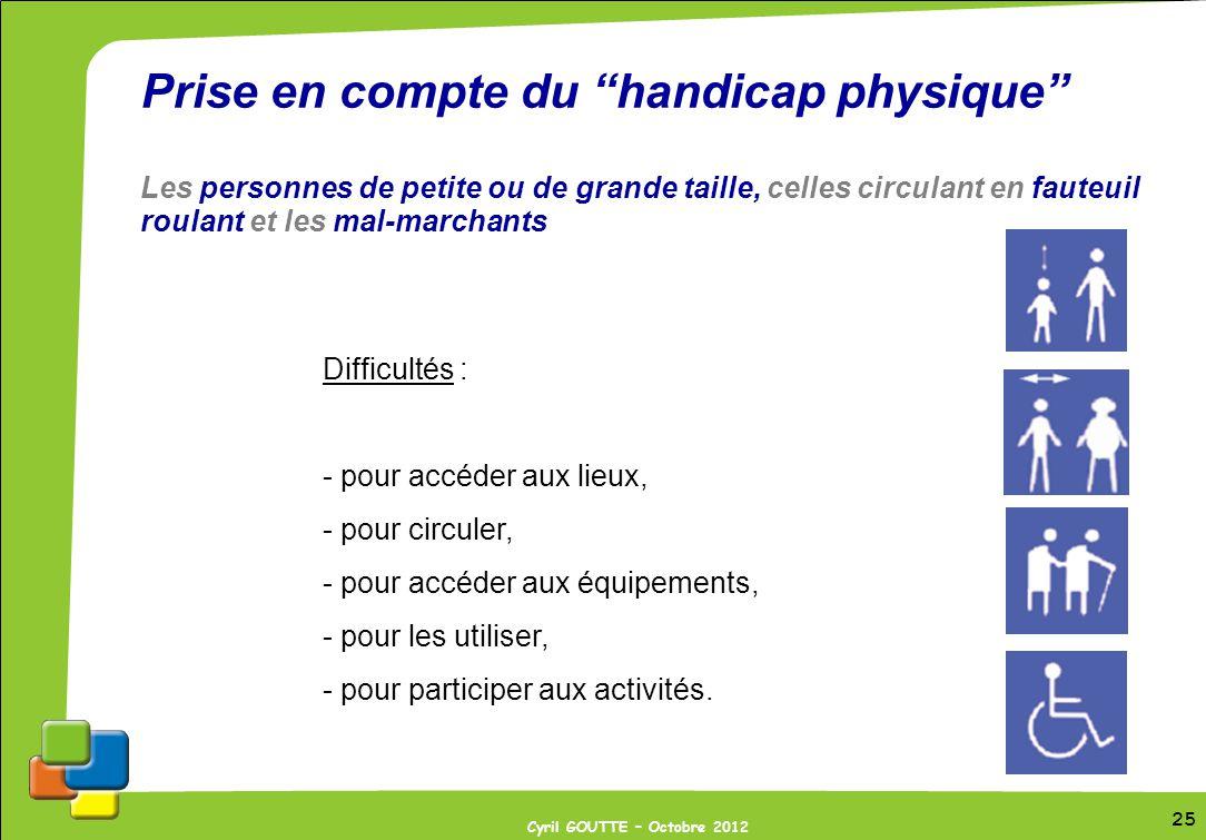 25 Cyril GOUTTE – Octobre 2012 25 Prise en compte du handicap physique Les personnes de petite ou de grande taille, celles circulant en fauteuil roula