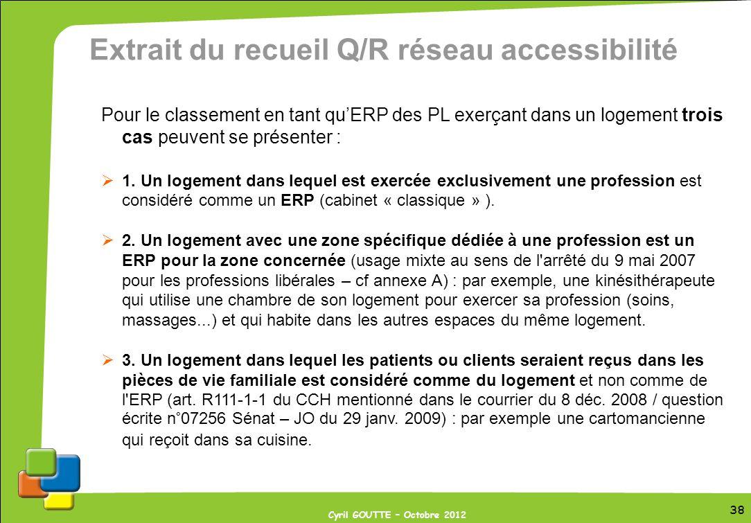 38 Cyril GOUTTE – Octobre 2012 38 Extrait du recueil Q/R réseau accessibilité Pour le classement en tant quERP des PL exerçant dans un logement trois