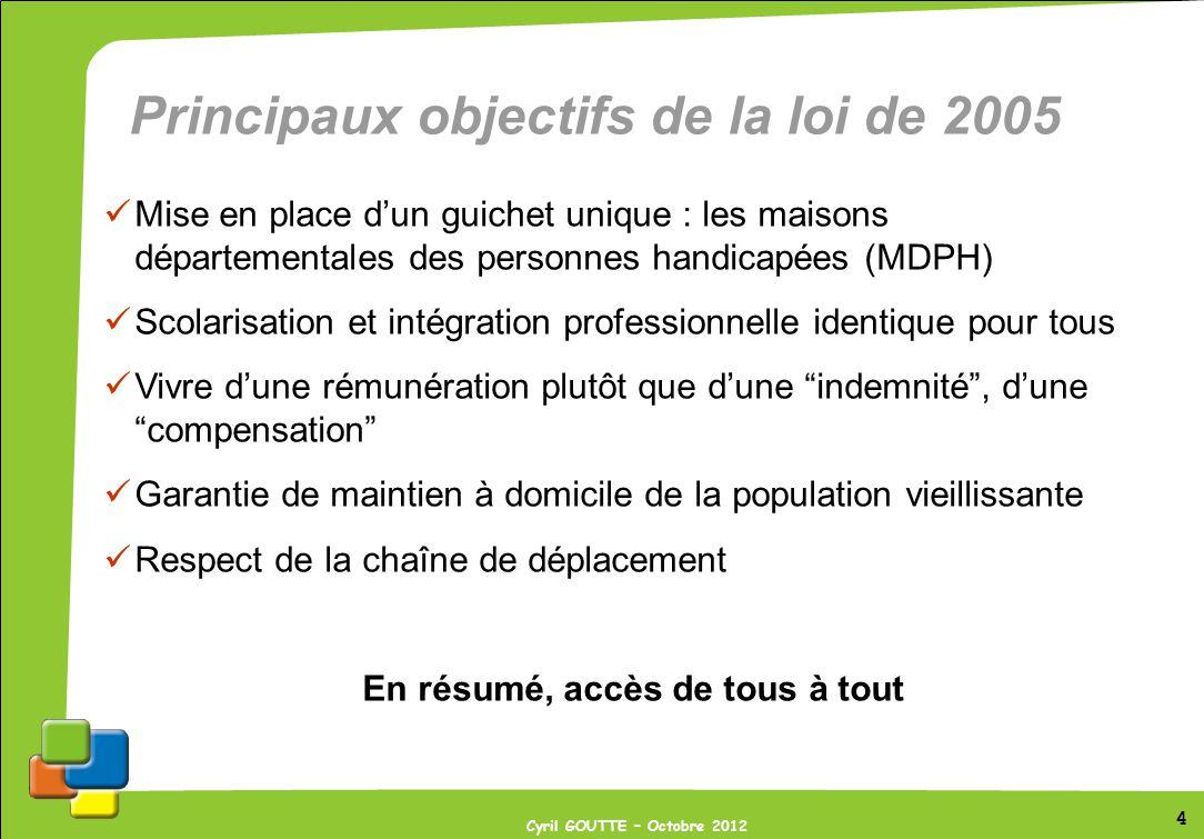 4 Cyril GOUTTE – Octobre 2012 Principaux objectifs de la loi de 2005 Mise en place dun guichet unique : les maisons départementales des personnes hand