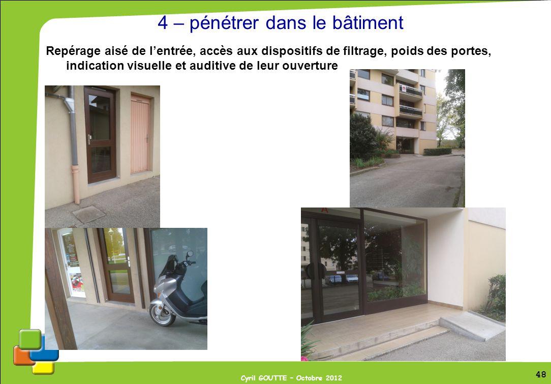 48 Cyril GOUTTE – Octobre 2012 48 4 – pénétrer dans le bâtiment Repérage aisé de lentrée, accès aux dispositifs de filtrage, poids des portes, indicat