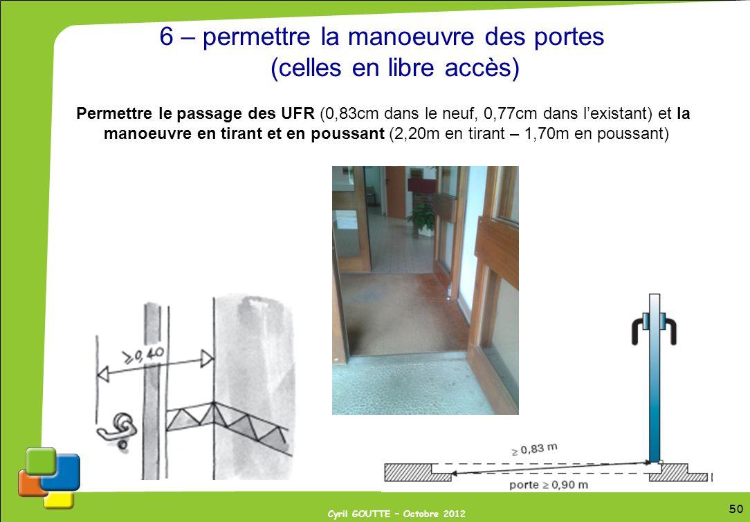 50 Cyril GOUTTE – Octobre 2012 50 6 – permettre la manoeuvre des portes (celles en libre accès) Permettre le passage des UFR (0,83cm dans le neuf, 0,7