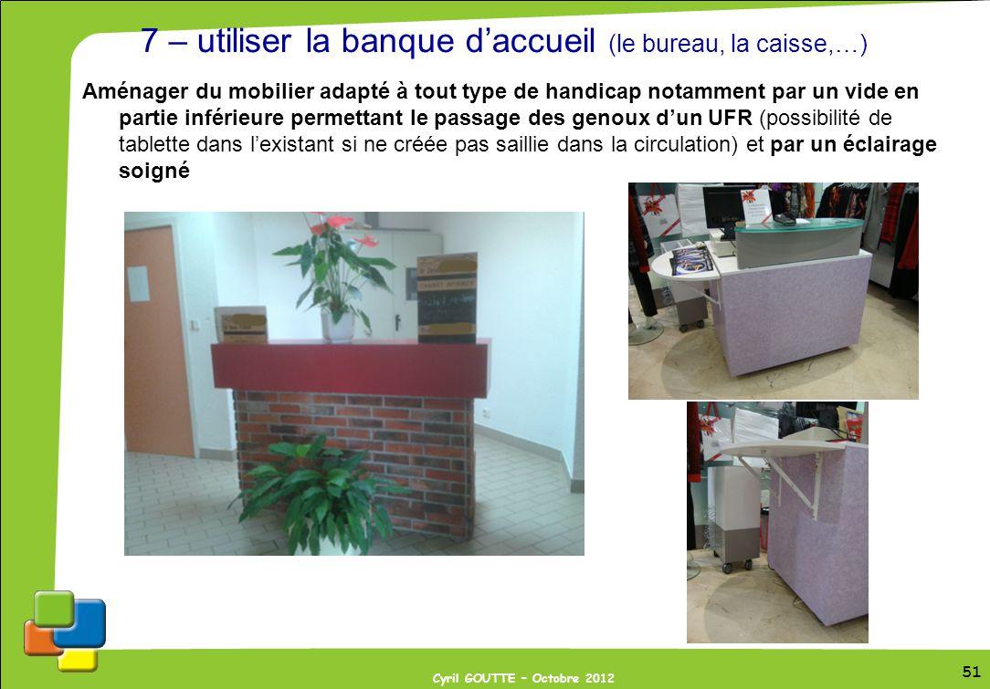 51 Cyril GOUTTE – Octobre 2012 51 7 – utiliser la banque daccueil (le bureau, la caisse,…) Aménager du mobilier adapté à tout type de handicap notamme