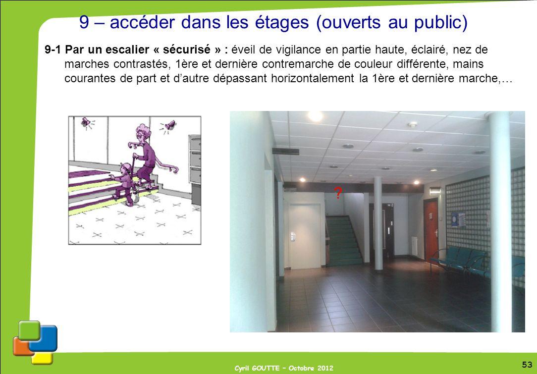 53 Cyril GOUTTE – Octobre 2012 53 9 – accéder dans les étages (ouverts au public) 9-1 Par un escalier « sécurisé » : éveil de vigilance en partie haut