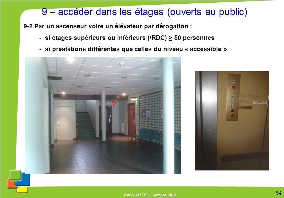 54 Cyril GOUTTE – Octobre 2012 54 9 – accéder dans les étages (ouverts au public) 9-2 Par un ascenseur voire un élévateur par dérogation : -si étages