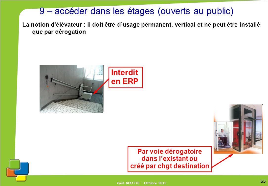 55 Cyril GOUTTE – Octobre 2012 55 9 – accéder dans les étages (ouverts au public) La notion délévateur : il doit être dusage permanent, vertical et ne