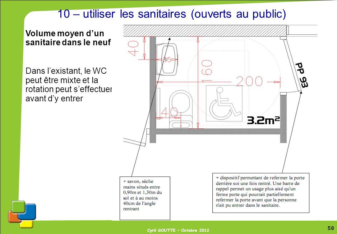 58 Cyril GOUTTE – Octobre 2012 58 10 – utiliser les sanitaires (ouverts au public) Volume moyen dun sanitaire dans le neuf Dans lexistant, le WC peut