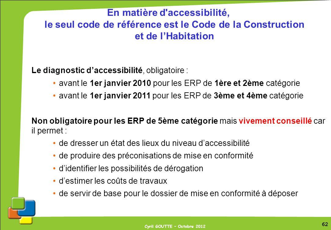 62 Cyril GOUTTE – Octobre 2012 62 En matière d'accessibilité, le seul code de référence est le Code de la Construction et de lHabitation Le diagnostic