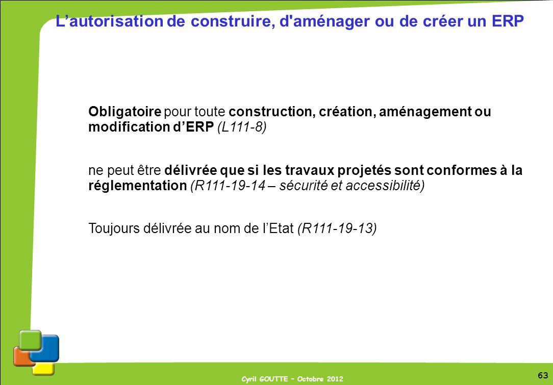63 Cyril GOUTTE – Octobre 2012 63 Lautorisation de construire, d'aménager ou de créer un ERP Obligatoire pour toute construction, création, aménagemen