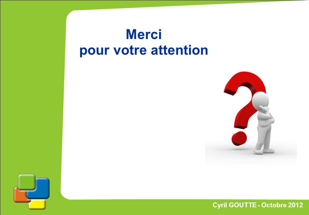 70 Cyril GOUTTE – Octobre 2012 Proposition de stratégie Cyril GOUTTE - Octobre 2012 Merci pour votre attention