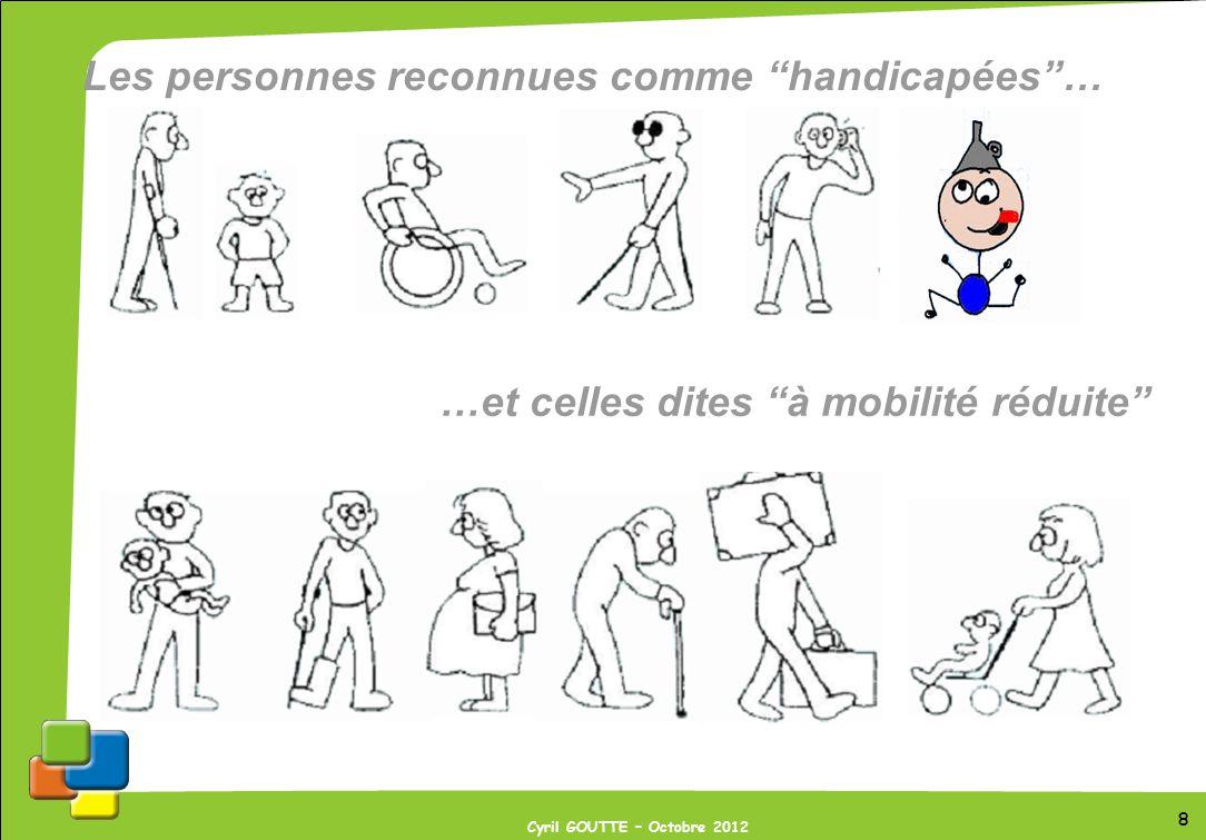 19 Cyril GOUTTE – Octobre 2012 19 Prise en compte du handicap auditif Les personnes sourdes ou malentendantes Difficultés : - de communication, - daccès à linformation, - dorientation, - fatigabilité, - pertes déquilibre.