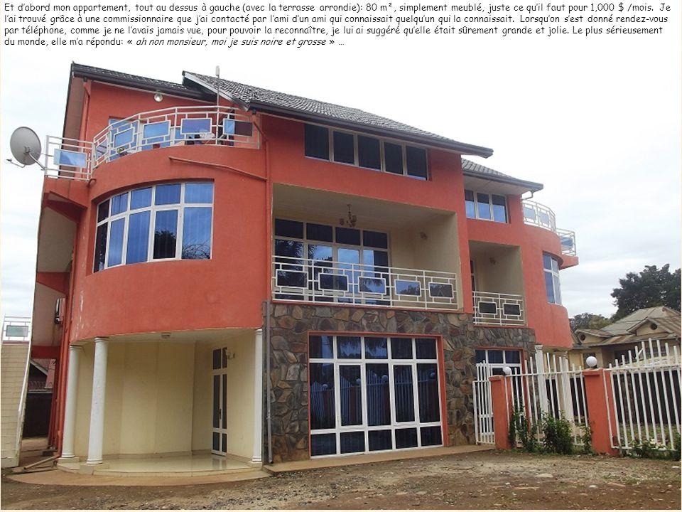 Malgré tout, que les amoureux de Bukavu se rassurent, il existe encore quelques très beaux endroits … Et dabord mon appartement, tout au dessus à gauche (avec la terrasse arrondie): 80 m², simplement meublé, juste ce quil faut pour 1,000 $ /mois.