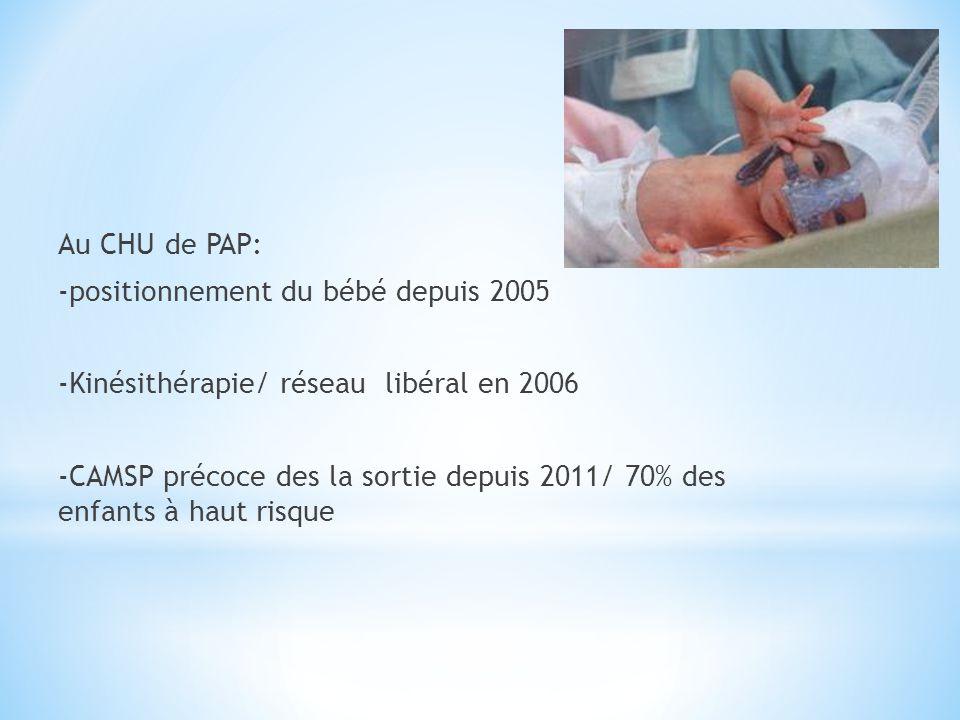 Au CHU de PAP: -positionnement du bébé depuis 2005 -Kinésithérapie/ réseau libéral en 2006 -CAMSP précoce des la sortie depuis 2011/ 70% des enfants à