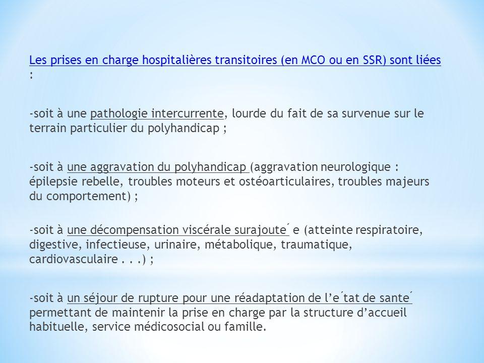 Les prises en charge hospitalières transitoires (en MCO ou en SSR) sont liées : -soit à une pathologie intercurrente, lourde du fait de sa survenue su