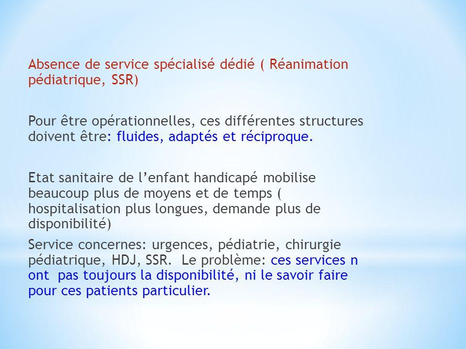 Absence de service spécialisé dédié ( Réanimation pédiatrique, SSR) Pour être opérationnelles, ces différentes structures doivent être: fluides, adaptés et réciproque.