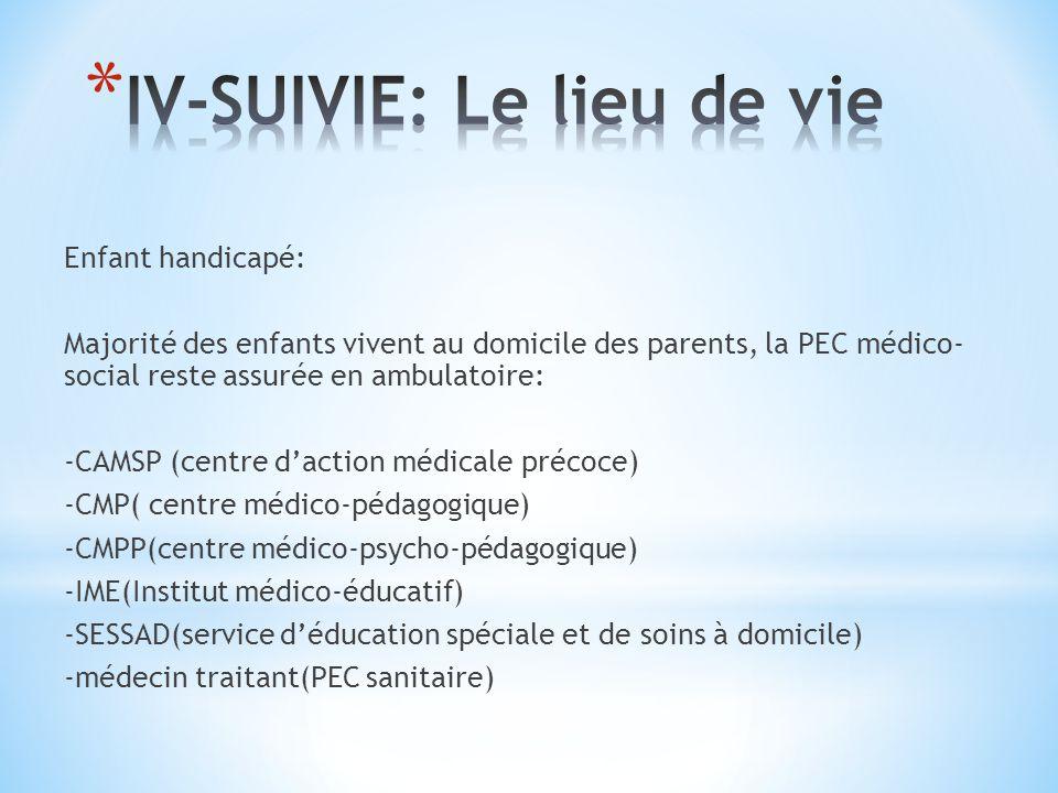 Enfant handicapé: Majorité des enfants vivent au domicile des parents, la PEC médico- social reste assurée en ambulatoire: -CAMSP (centre daction médicale précoce) -CMP( centre médico-pédagogique) -CMPP(centre médico-psycho-pédagogique) -IME(Institut médico-éducatif) -SESSAD(service déducation spéciale et de soins à domicile) -médecin traitant(PEC sanitaire)